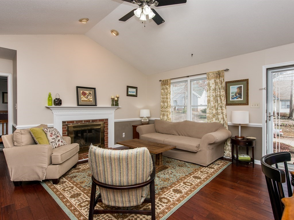Inviting family room with fireplace