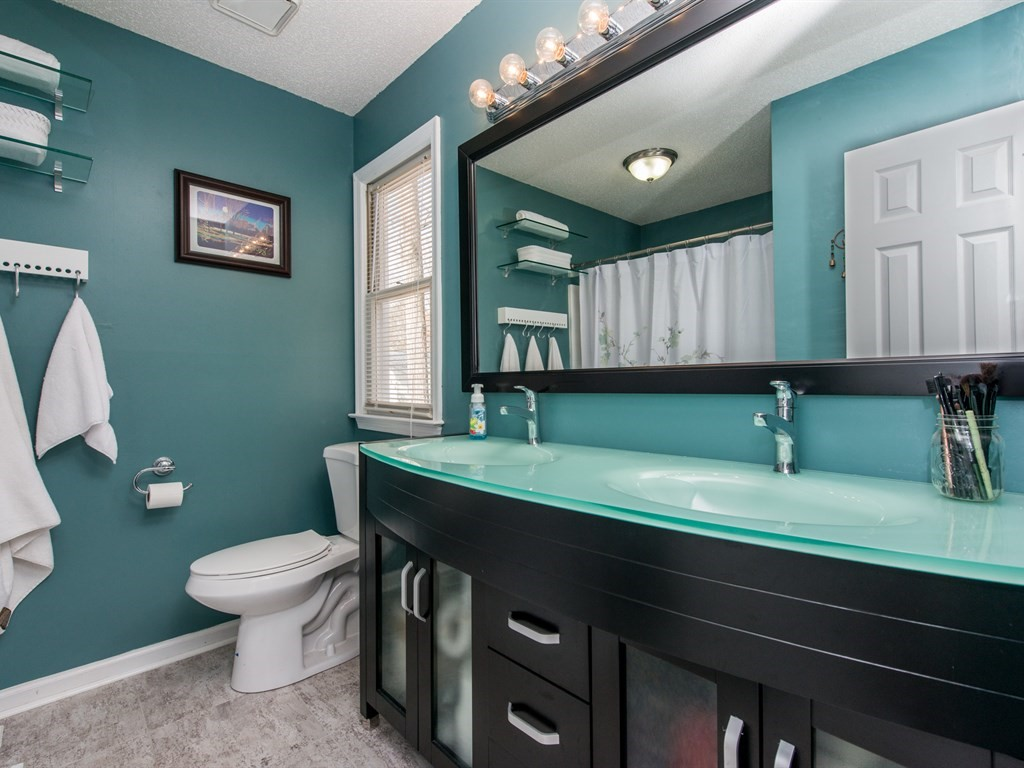 Updated master bathroom with modern fixtures