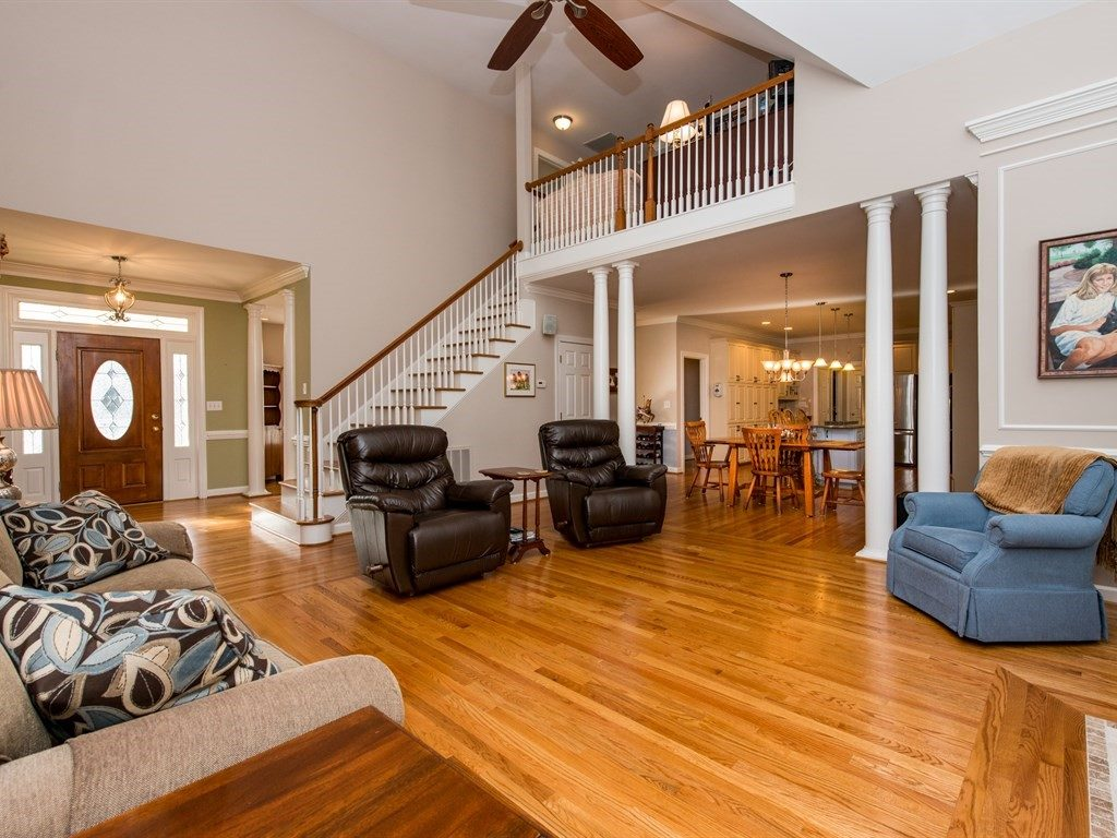 The vaulted family room makes a grand impression