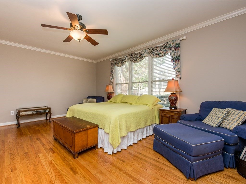 Lots of natural light and hardwood floors in this first floor master
